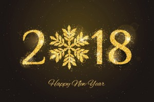 Vector 2018 Happy New Year and Merry Christmas greeting card with sparkling glitter golden textured snowflake. Seasonal holidays background